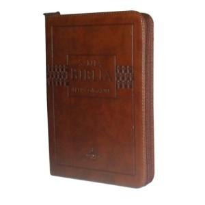 Biblia Flexible cafe con indice y cierre letra gigante
